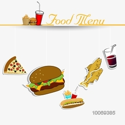 Stylish Menu Card with delicious fast foods.
