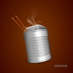 Fresh packed hot food with chopsticks on brown background.