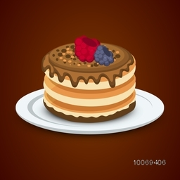 Delicious big cake in plate on brown background for Sweet Food concept.