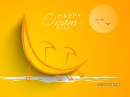 South Indian festival, Happy Onam celebration with illustration of snake boat and umbrella at river.
