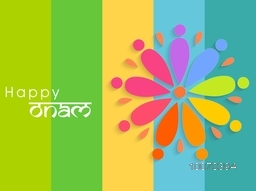 South Indian festival, Happy Onam celebration beautiful greeting card design with colorful creative rangoli.