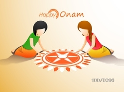 South Indian festival, Happy Onam celebration with illustration of little cute girls making a beautiful rangoli.
