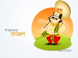 South Indian harvesting festival, Happy Onam celebration with illustration of King Mahabali on nature background.