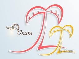South Indian festival, Happy Onam celebration with creative illustration of banana tree on stylish background.