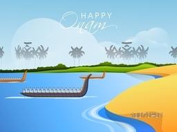 South Indian festival, Happy Onam celebration with illustration of snake boat at river.