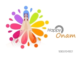 Elegant greeting card with illustration of beautiful women's hand in Indian greeting (Namaste) pose on floral design decorated background for Happy Onam festival celebration.
