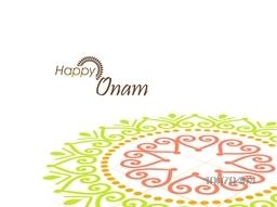 South Indian harvesting festival, Happy Onam celebration with illustration of colourful creative rangoli on white background.